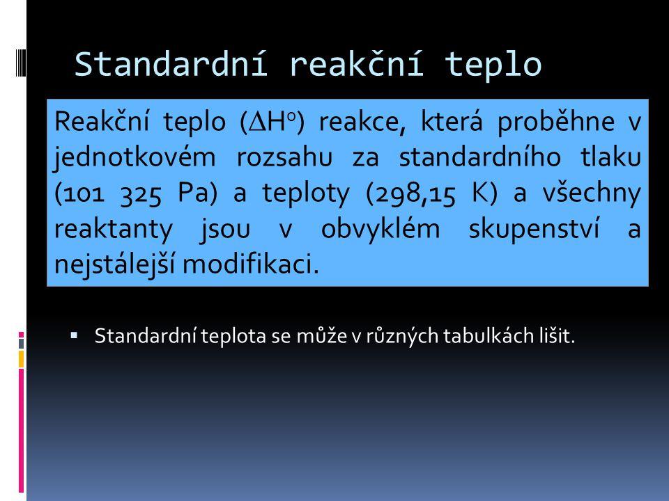 Standardní reakční teplo  Standardní teplota se může v různých tabulkách lišit. Reakční teplo (  H 0 ) reakce, která proběhne v jednotkovém rozsahu