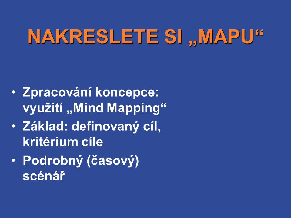"""NAKRESLETE SI """"MAPU"""" •Zpracování koncepce: využití """"Mind Mapping"""" •Základ: definovaný cíl, kritérium cíle •Podrobný (časový) scénář"""