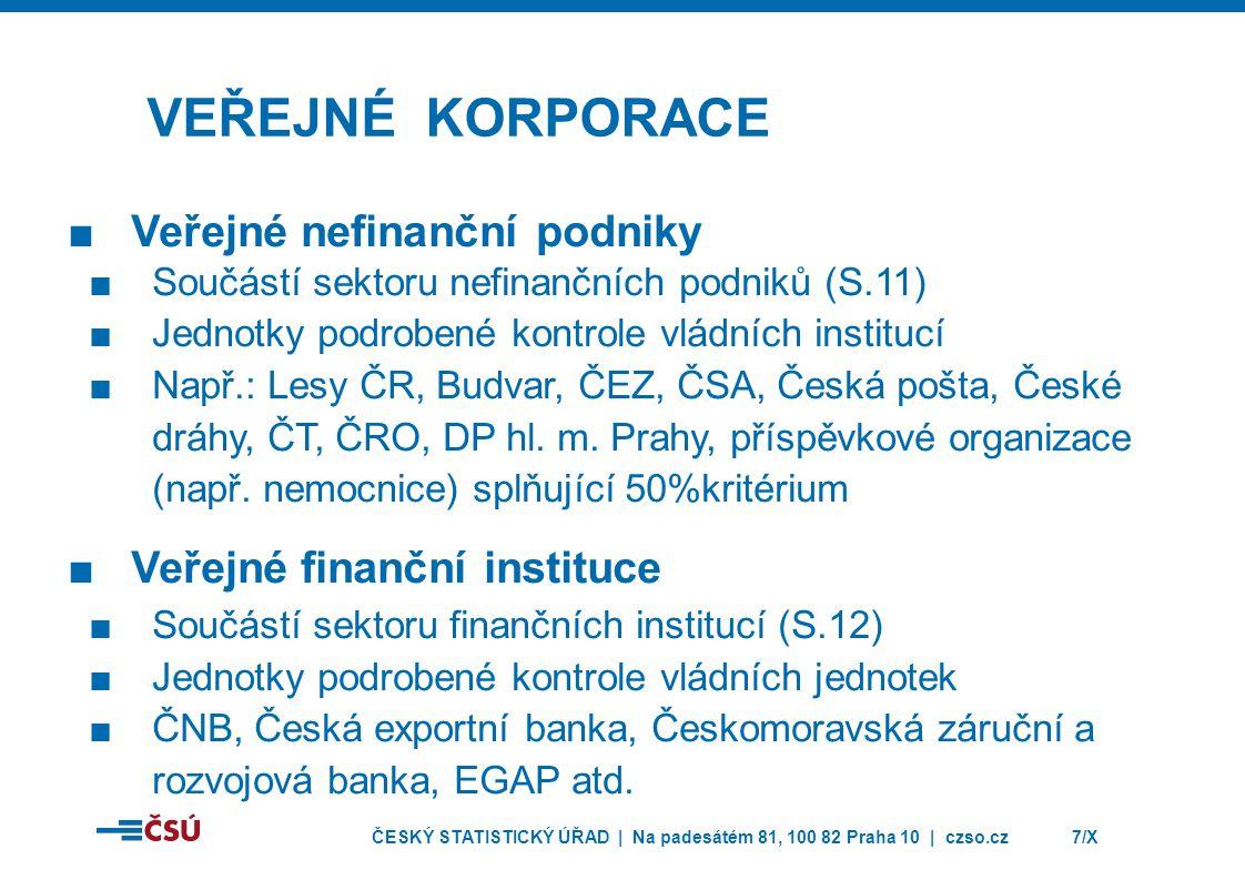 ČESKÝ STATISTICKÝ ÚŘAD | Na padesátém 81, 100 82 Praha 10 | czso.cz7/X VEŘEJNÉ KORPORACE ■Veřejné nefinanční podniky ■Součástí sektoru nefinančních po