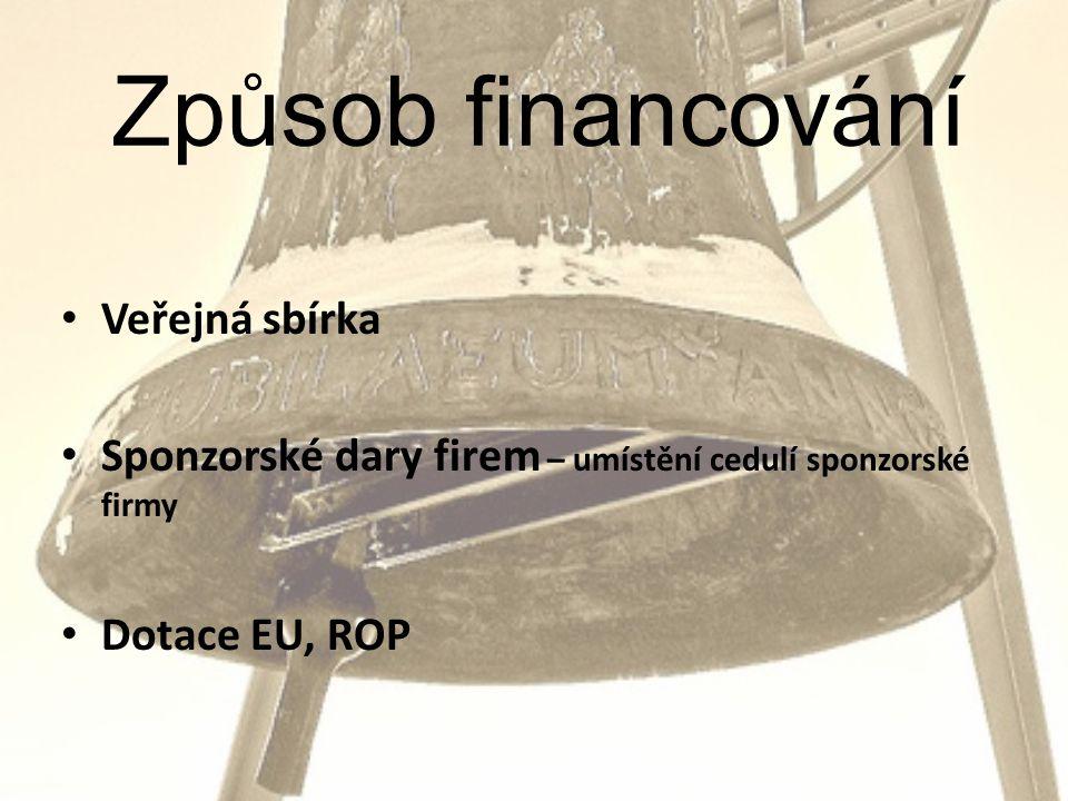 Způsob financování • Veřejná sbírka • Sponzorské dary firem – umístění cedulí sponzorské firmy • Dotace EU, ROP