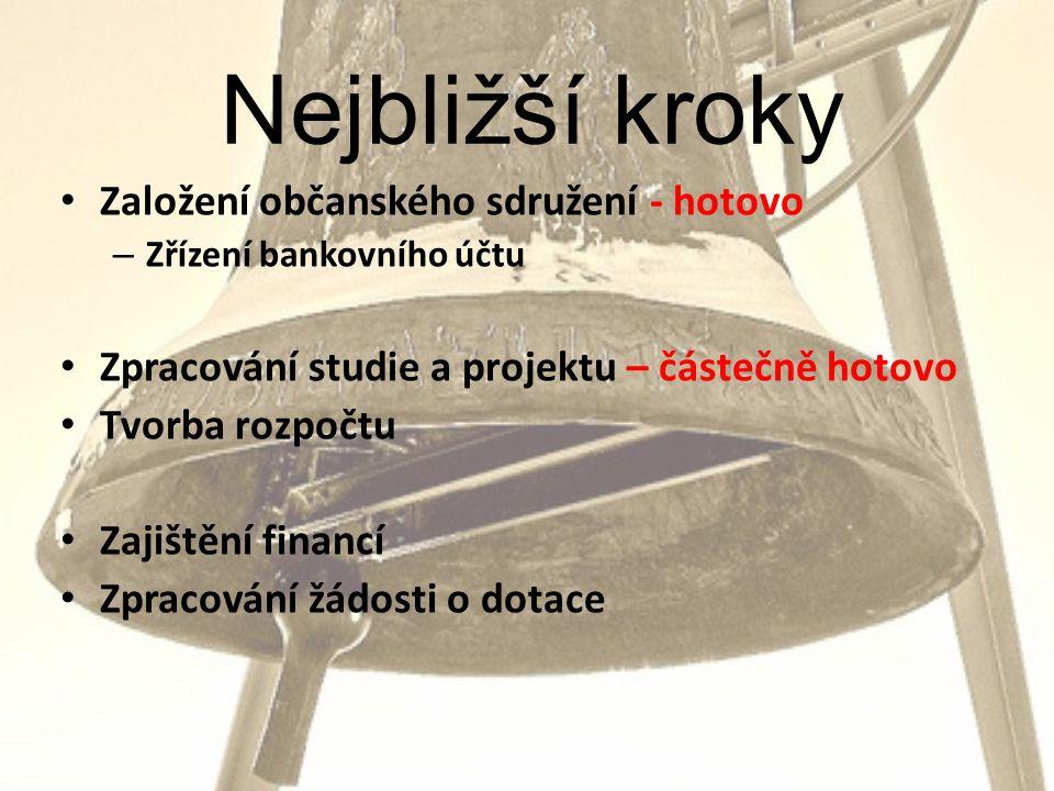 Nejbližší kroky • Založení občanského sdružení - hotovo – Zřízení bankovního účtu • Zpracování studie a projektu – částečně hotovo • Tvorba rozpočtu • Zajištění financí • Zpracování žádosti o dotace