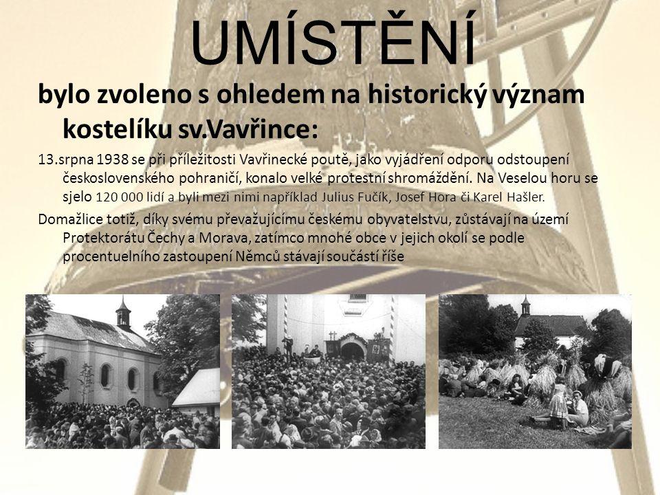 bylo zvoleno s ohledem na historický význam kostelíku sv.Vavřince: 13.srpna 1938 se při příležitosti Vavřinecké poutě, jako vyjádření odporu odstoupení československého pohraničí, konalo velké protestní shromáždění.