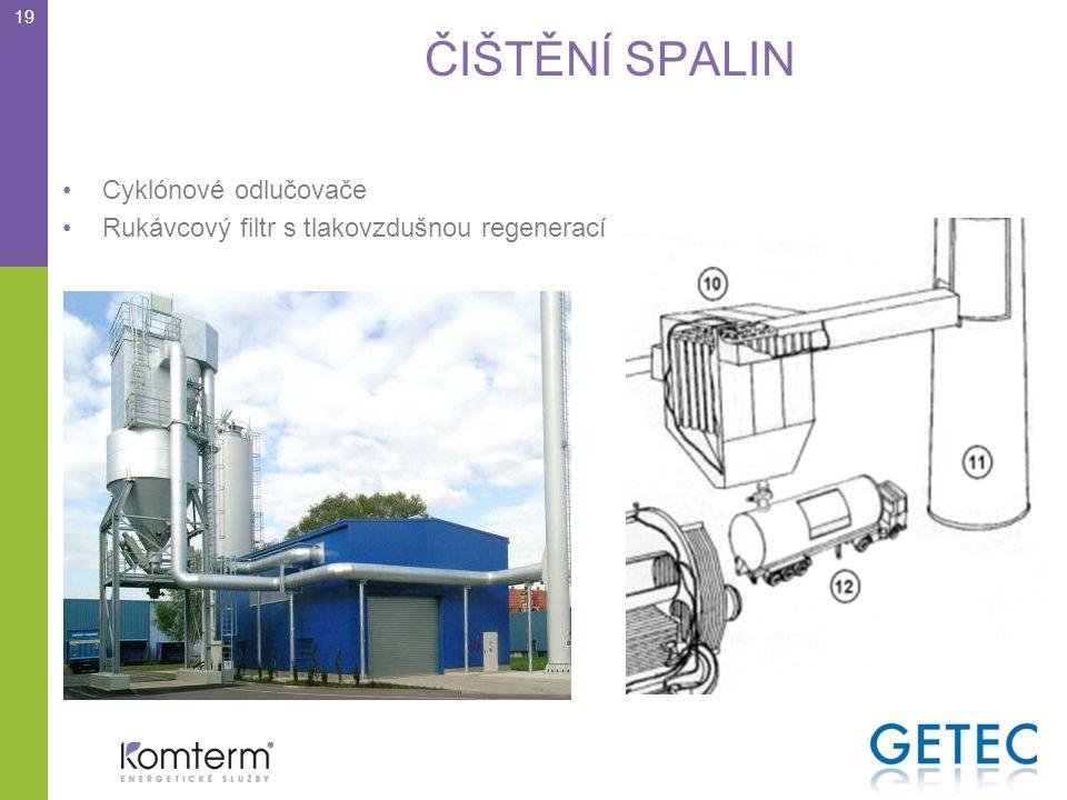 ČIŠTĚNÍ SPALIN 19 •Cyklónové odlučovače •Rukávcový filtr s tlakovzdušnou regenerací