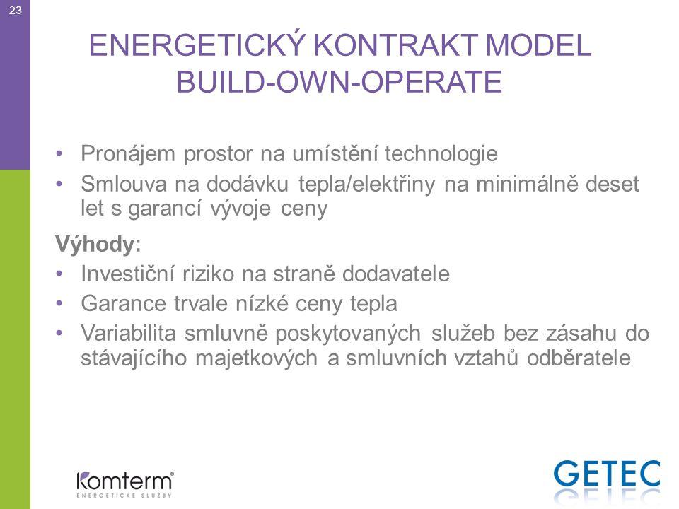 ENERGETICKÝ KONTRAKT MODEL BUILD-OWN-OPERATE •Pronájem prostor na umístění technologie •Smlouva na dodávku tepla/elektřiny na minimálně deset let s garancí vývoje ceny Výhody: •Investiční riziko na straně dodavatele •Garance trvale nízké ceny tepla •Variabilita smluvně poskytovaných služeb bez zásahu do stávajícího majetkových a smluvních vztahů odběratele 23