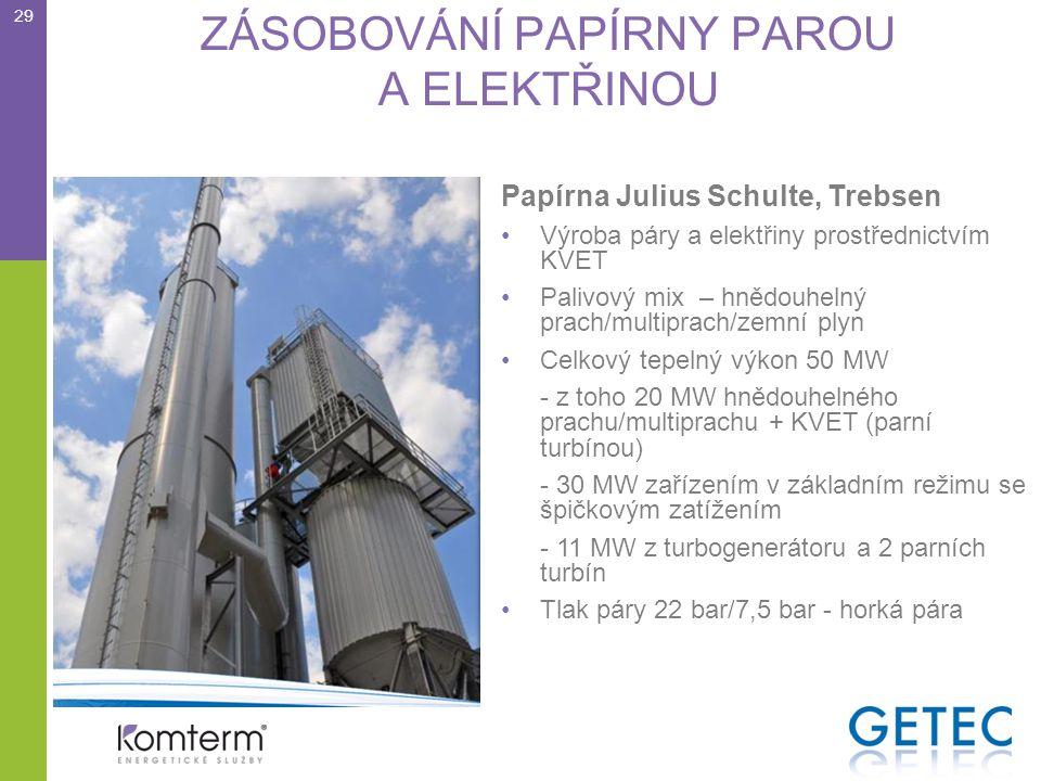 ZÁSOBOVÁNÍ PAPÍRNY PAROU A ELEKTŘINOU Papírna Julius Schulte, Trebsen •Výroba páry a elektřiny prostřednictvím KVET •Palivový mix – hnědouhelný prach/multiprach/zemní plyn •Celkový tepelný výkon 50 MW - z toho 20 MW hnědouhelného prachu/multiprachu + KVET (parní turbínou) - 30 MW zařízením v základním režimu se špičkovým zatížením - 11 MW z turbogenerátoru a 2 parních turbín •Tlak páry 22 bar/7,5 bar - horká pára 29