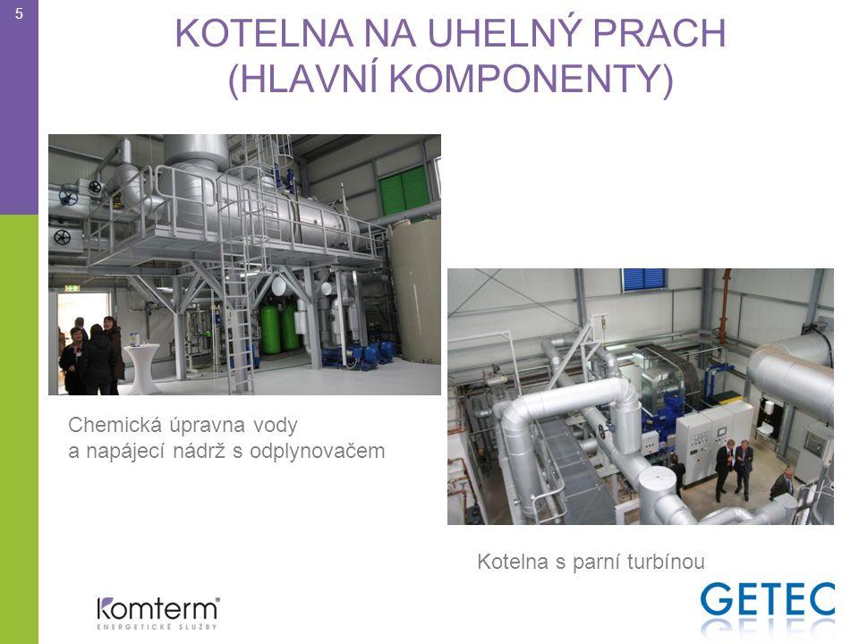 KOTELNA NA UHELNÝ PRACH (HLAVNÍ KOMPONENTY) 5 Chemická úpravna vody a napájecí nádrž s odplynovačem Kotelna s parní turbínou