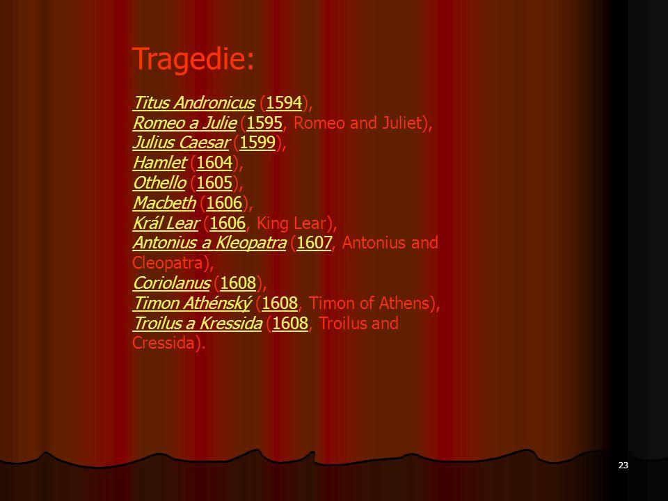 Titus AndronicusTitus Andronicus (1594),1594 Romeo a JulieRomeo a Julie (1595, Romeo and Juliet),1595 Julius CaesarJulius Caesar (1599),1599 HamletHam