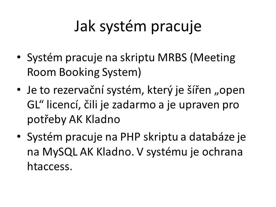 """Jak systém pracuje • Systém pracuje na skriptu MRBS (Meeting Room Booking System) • Je to rezervační systém, který je šířen """"open GL"""" licencí, čili je"""