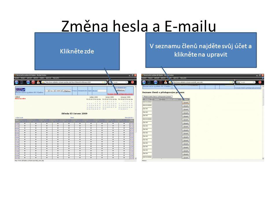 Změna hesla a E-mailu Klikněte zde V seznamu členů najděte svůj účet a klikněte na upravit