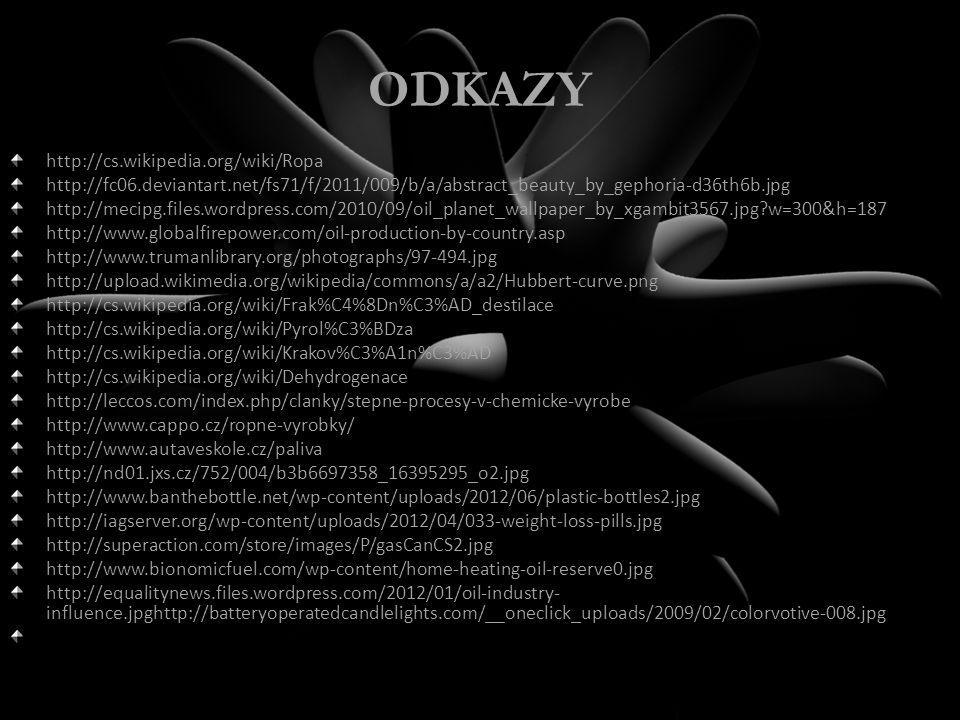 ODKAZY http://cs.wikipedia.org/wiki/Ropa http://fc06.deviantart.net/fs71/f/2011/009/b/a/abstract_beauty_by_gephoria-d36th6b.jpg http://mecipg.files.wordpress.com/2010/09/oil_planet_wallpaper_by_xgambit3567.jpg?w=300&h=187 http://www.globalfirepower.com/oil-production-by-country.asp http://www.trumanlibrary.org/photographs/97-494.jpg http://upload.wikimedia.org/wikipedia/commons/a/a2/Hubbert-curve.png http://cs.wikipedia.org/wiki/Frak%C4%8Dn%C3%AD_destilace http://cs.wikipedia.org/wiki/Pyrol%C3%BDza http://cs.wikipedia.org/wiki/Krakov%C3%A1n%C3%AD http://cs.wikipedia.org/wiki/Dehydrogenace http://leccos.com/index.php/clanky/stepne-procesy-v-chemicke-vyrobe http://www.cappo.cz/ropne-vyrobky/ http://www.autaveskole.cz/paliva http://nd01.jxs.cz/752/004/b3b6697358_16395295_o2.jpg http://www.banthebottle.net/wp-content/uploads/2012/06/plastic-bottles2.jpg http://iagserver.org/wp-content/uploads/2012/04/033-weight-loss-pills.jpg http://superaction.com/store/images/P/gasCanCS2.jpg http://www.bionomicfuel.com/wp-content/home-heating-oil-reserve0.jpg http://equalitynews.files.wordpress.com/2012/01/oil-industry- influence.jpghttp://batteryoperatedcandlelights.com/__oneclick_uploads/2009/02/colorvotive-008.jpg http://www.earthlyissues.com/images/oil.jpg