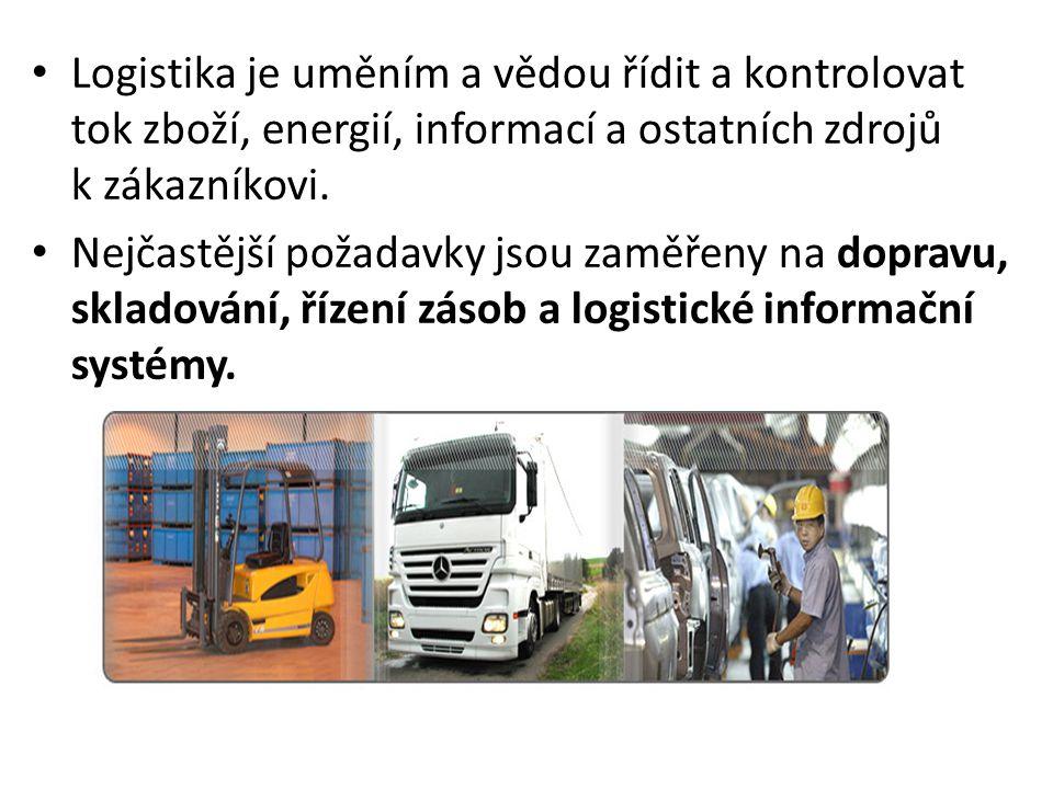 • Logistika je uměním a vědou řídit a kontrolovat tok zboží, energií, informací a ostatních zdrojů k zákazníkovi. • Nejčastější požadavky jsou zaměřen