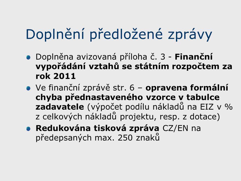 Doplnění předložené zprávy Doplněna avizovaná příloha č.