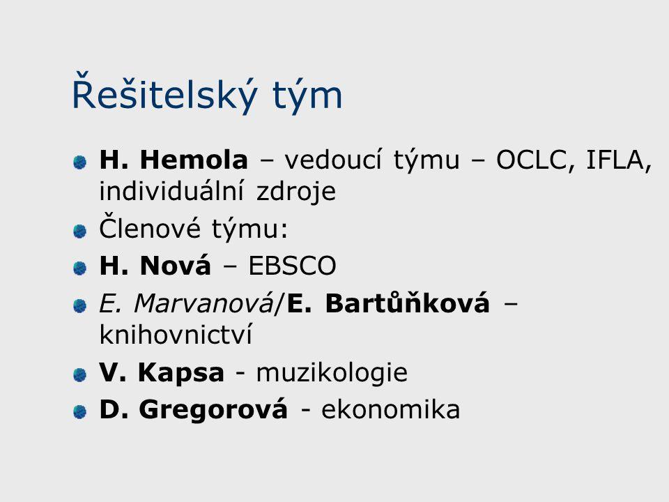 Řešitelský tým H. Hemola – vedoucí týmu – OCLC, IFLA, individuální zdroje Členové týmu: H.