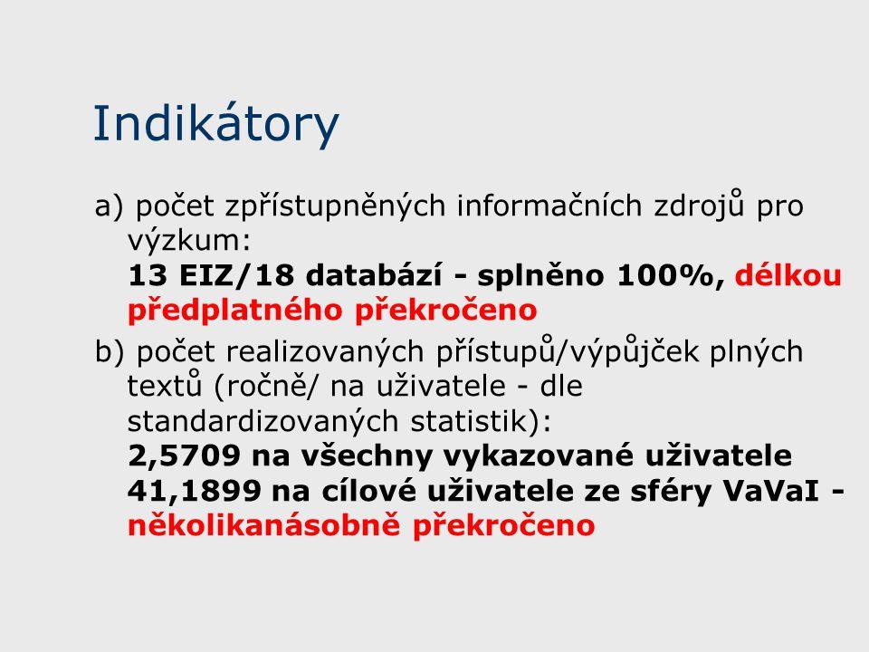 Indikátory a) počet zpřístupněných informačních zdrojů pro výzkum: 13 EIZ/18 databází - splněno 100%, délkou předplatného překročeno b) počet realizovaných přístupů/výpůjček plných textů (ročně/ na uživatele - dle standardizovaných statistik): 2,5709 na všechny vykazované uživatele 41,1899 na cílové uživatele ze sféry VaVaI - několikanásobně překročeno