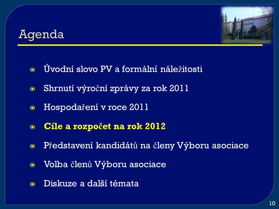  Úvodní slovo PV a formální nále ž itosti  Shrnutí výro č ní zprávy za rok 2011  Hospoda ř ení v roce 2011  Cíle a rozpo č et na rok 2012  P ř ed