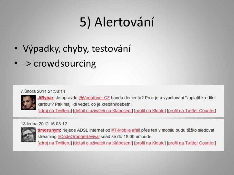 5) Alertování • Výpadky, chyby, testování • -> crowdsourcing