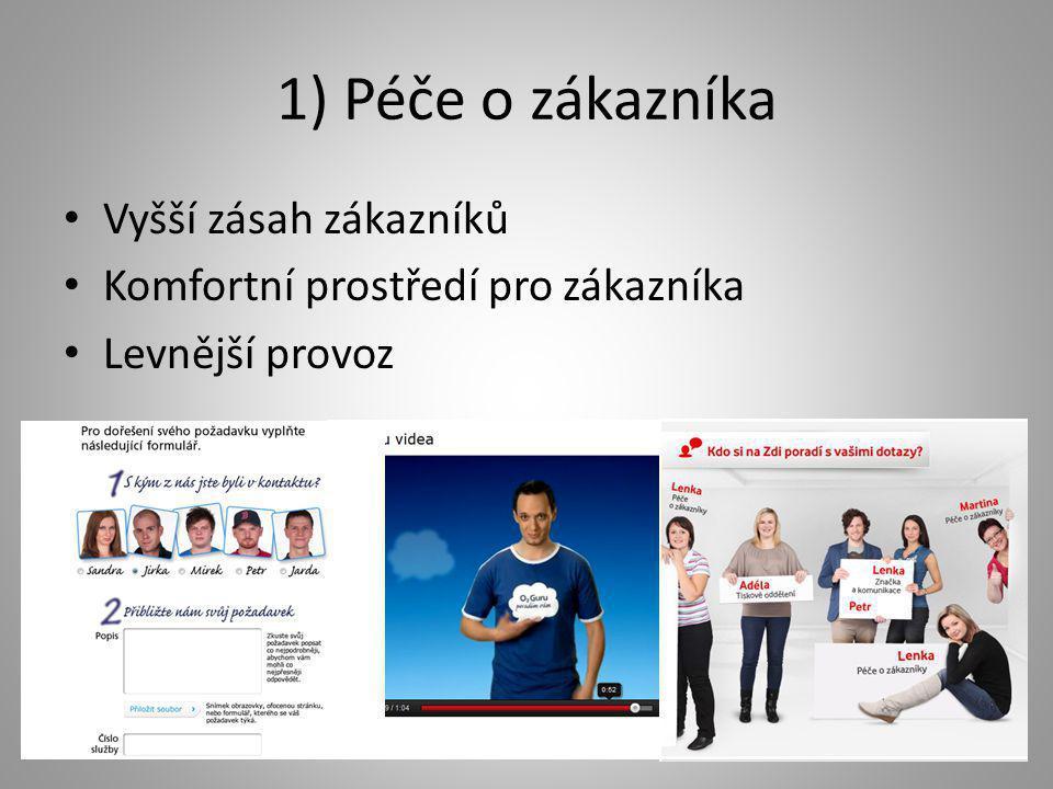 1) Péče o zákazníka • Vyšší zásah zákazníků • Komfortní prostředí pro zákazníka • Levnější provoz