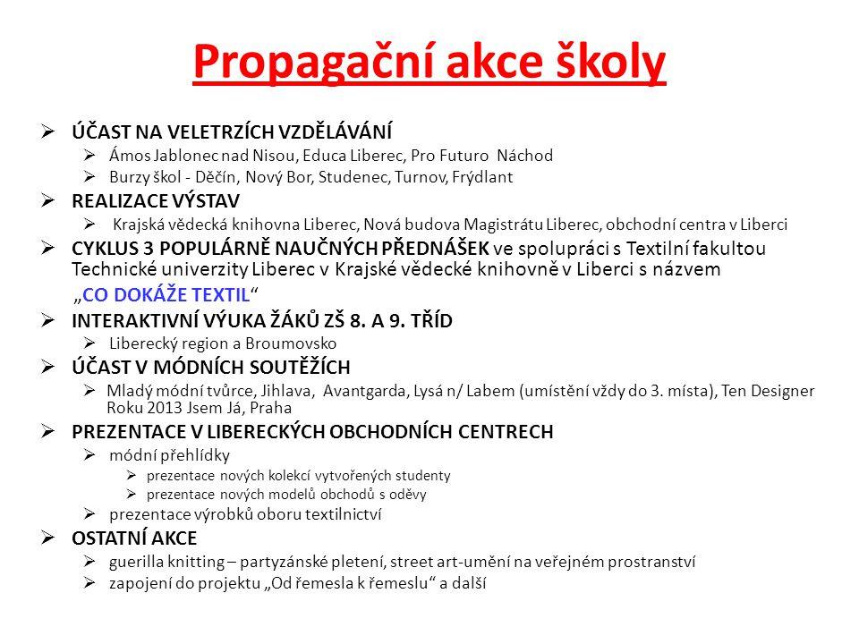 Propagační akce školy  ÚČAST NA VELETRZÍCH VZDĚLÁVÁNÍ  Ámos Jablonec nad Nisou, Educa Liberec, Pro Futuro Náchod  Burzy škol - Děčín, Nový Bor, Stu