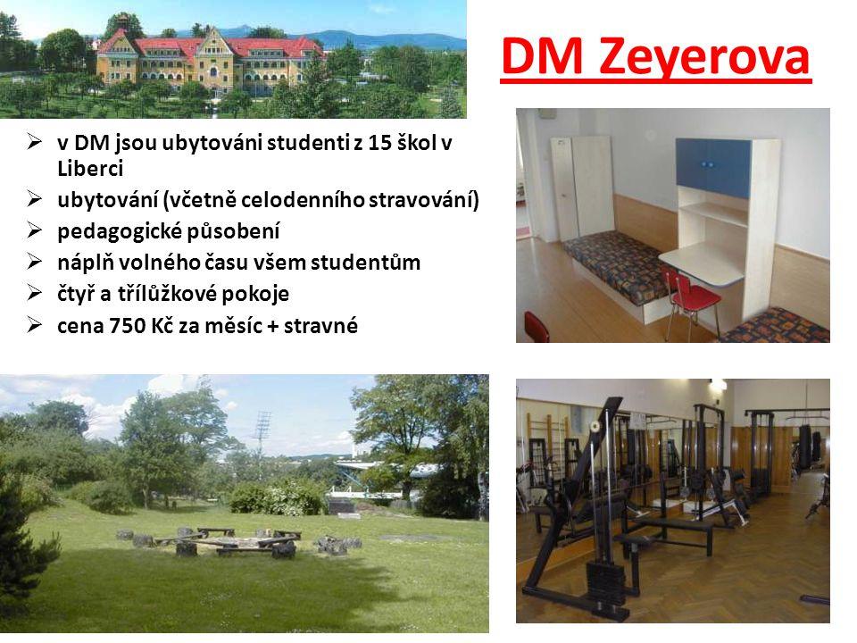  v DM jsou ubytováni studenti z 15 škol v Liberci  ubytování (včetně celodenního stravování)  pedagogické působení  náplň volného času všem studen