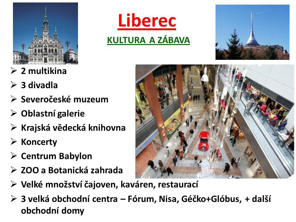Liberec KULTURA A ZÁBAVA  2 multikina  3 divadla  Severočeské muzeum  Oblastní galerie  Krajská vědecká knihovna  Koncerty  Centrum Babylon  Z