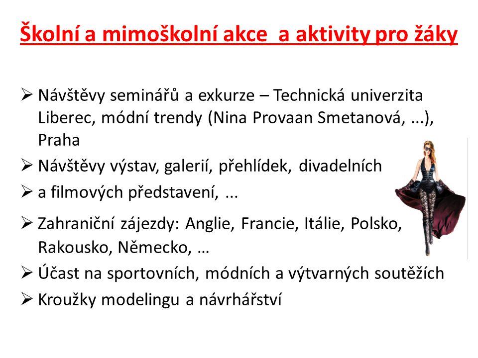 Školní a mimoškolní akce a aktivity pro žáky  Návštěvy seminářů a exkurze – Technická univerzita Liberec, módní trendy (Nina Provaan Smetanová,...),