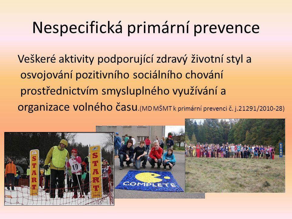 Nespecifická primární prevence Veškeré aktivity podporující zdravý životní styl a osvojování pozitivního sociálního chování prostřednictvím smysluplné