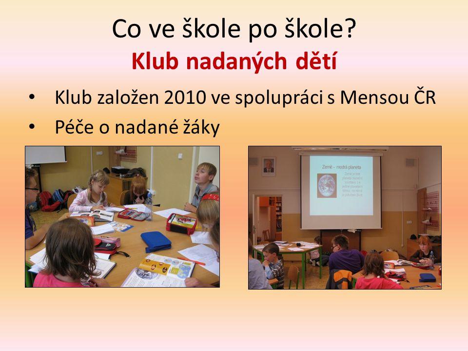 Co ve škole po škole? Klub nadaných dětí • Klub založen 2010 ve spolupráci s Mensou ČR • Péče o nadané žáky