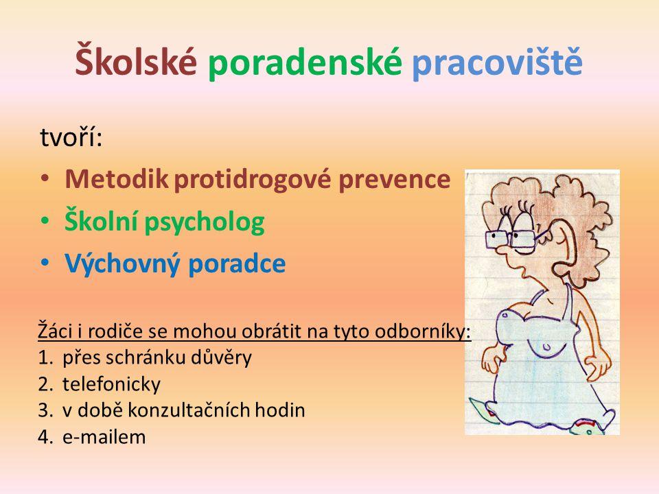 Školské poradenské pracoviště tvoří: • Metodik protidrogové prevence • Školní psycholog • Výchovný poradce Žáci i rodiče se mohou obrátit na tyto odbo