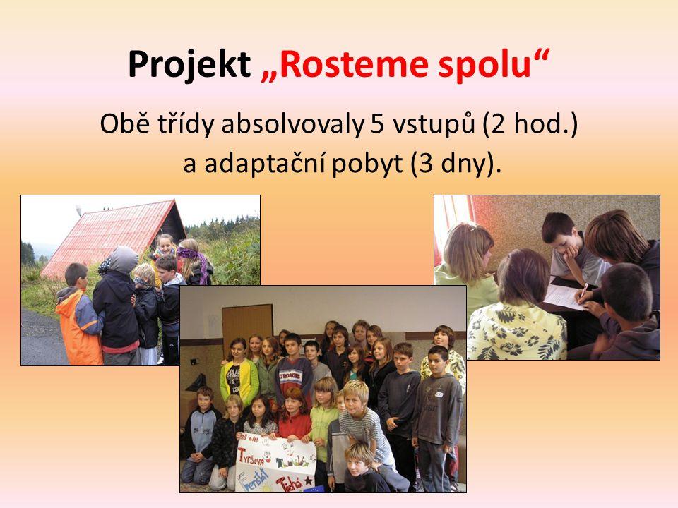 """Projekt """"Rosteme spolu"""" Obě třídy absolvovaly 5 vstupů (2 hod.) a adaptační pobyt (3 dny)."""