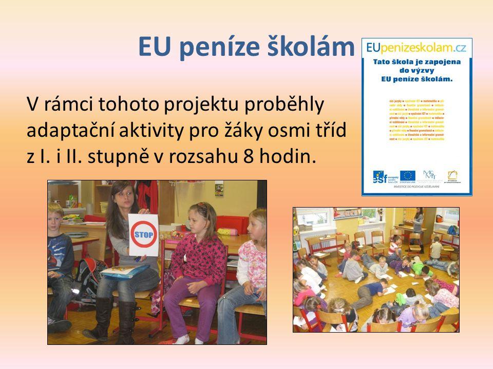 EU peníze školám V rámci tohoto projektu proběhly adaptační aktivity pro žáky osmi tříd z I. i II. stupně v rozsahu 8 hodin.