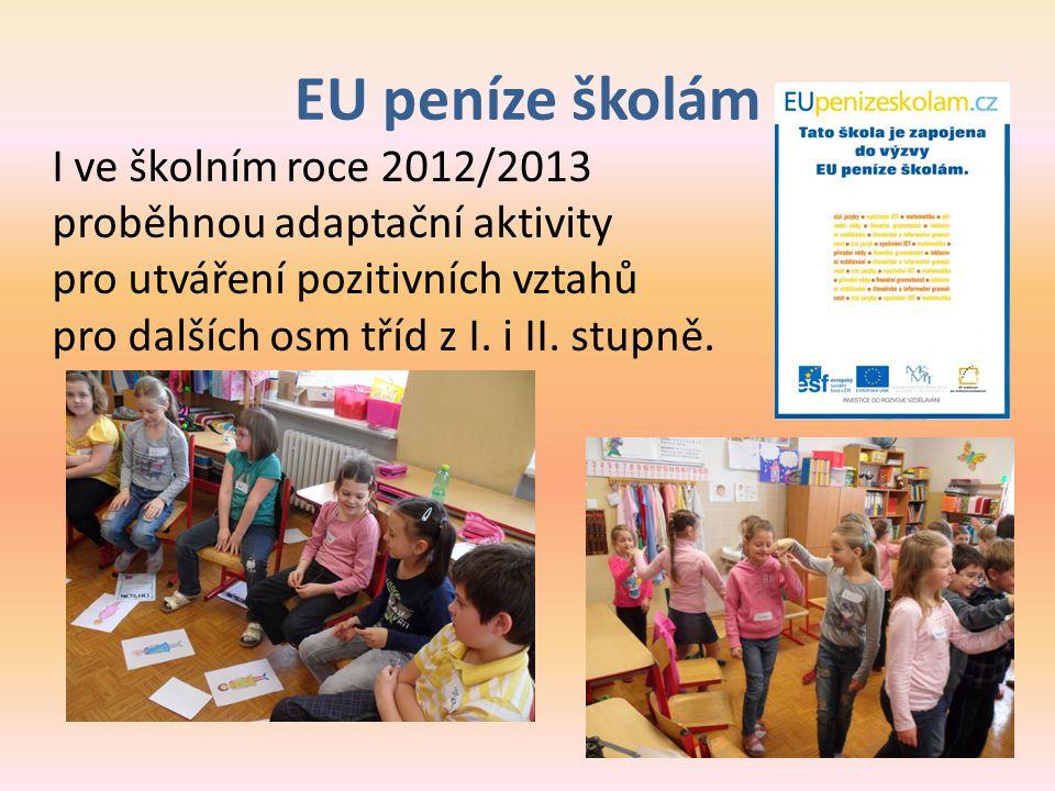 EU peníze školám I ve školním roce 2012/2013 proběhnou adaptační aktivity pro utváření pozitivních vztahů pro dalších osm tříd z I. i II. stupně.