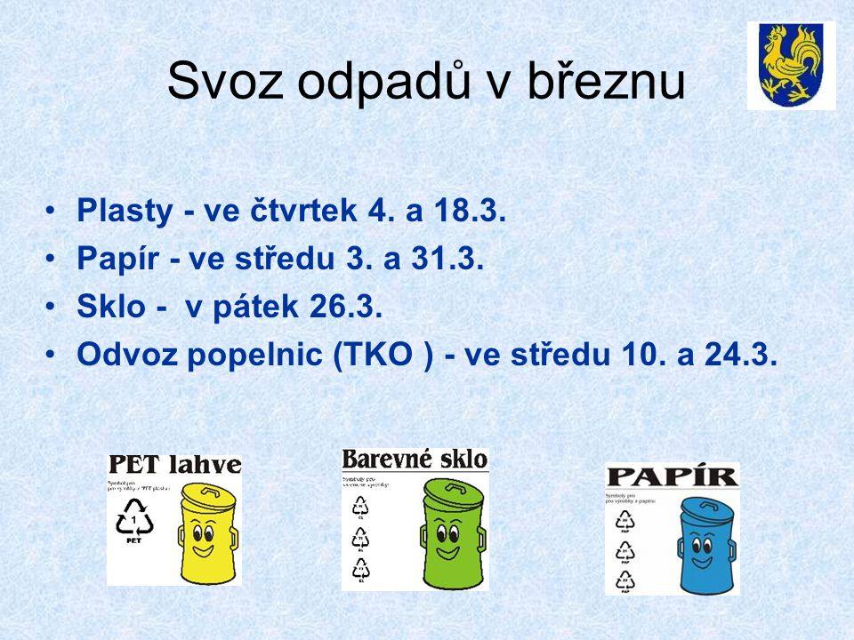 Svoz odpadů v březnu •Plasty - ve čtvrtek 4. a 18.3. •Papír - ve středu 3. a 31.3. •Sklo - v pátek 26.3. •Odvoz popelnic (TKO ) - ve středu 10. a 24.3