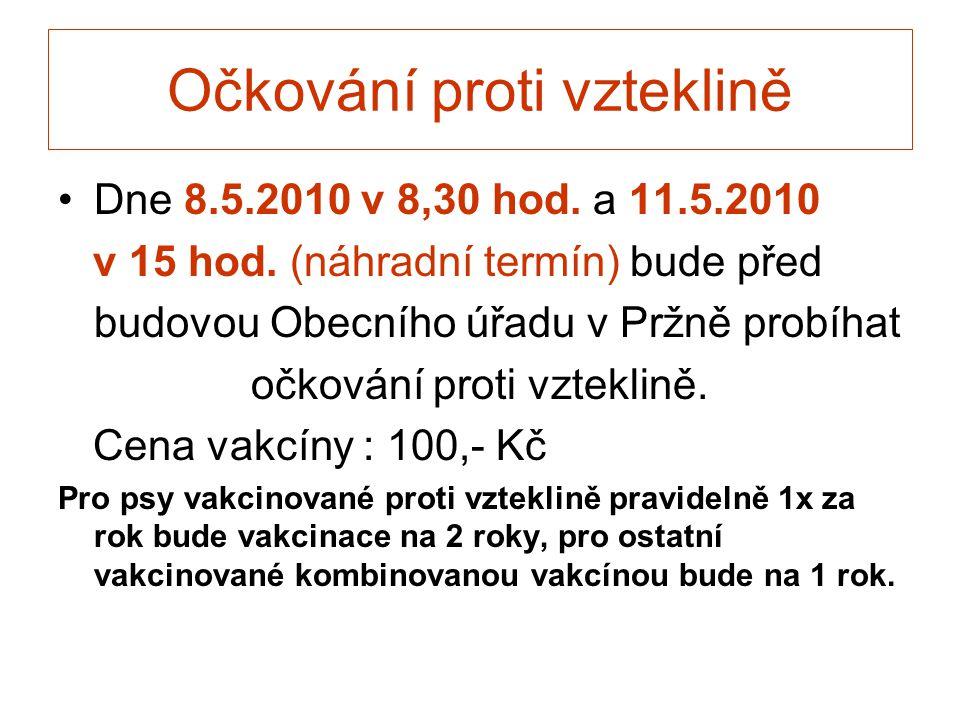 Očkování proti vzteklině •Dne 8.5.2010 v 8,30 hod. a 11.5.2010 v 15 hod. (náhradní termín) bude před budovou Obecního úřadu v Pržně probíhat očkování