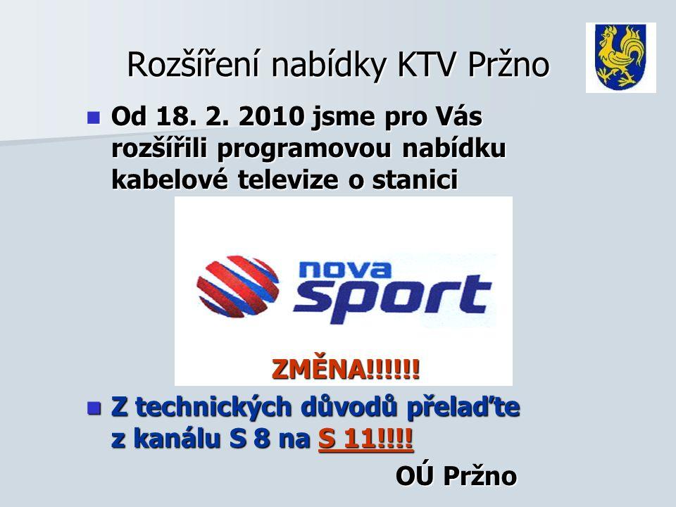 Rozšíření nabídky KTV Pržno  Od 18. 2. 2010 jsme pro Vás rozšířili programovou nabídku kabelové televize o stanici ZMĚNA!!!!!! ZMĚNA!!!!!!  Z techni