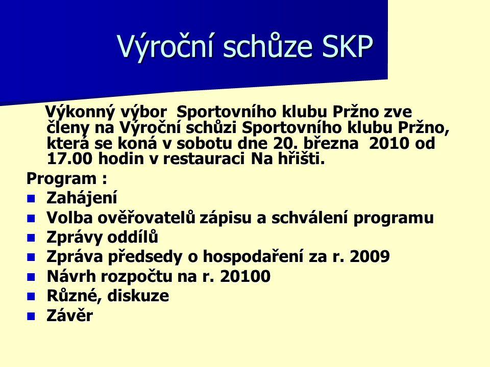 Výroční schůze SKP Výkonný výbor Sportovního klubu Pržno zve členy na Výroční schůzi Sportovního klubu Pržno, která se koná v sobotu dne 20. března 20