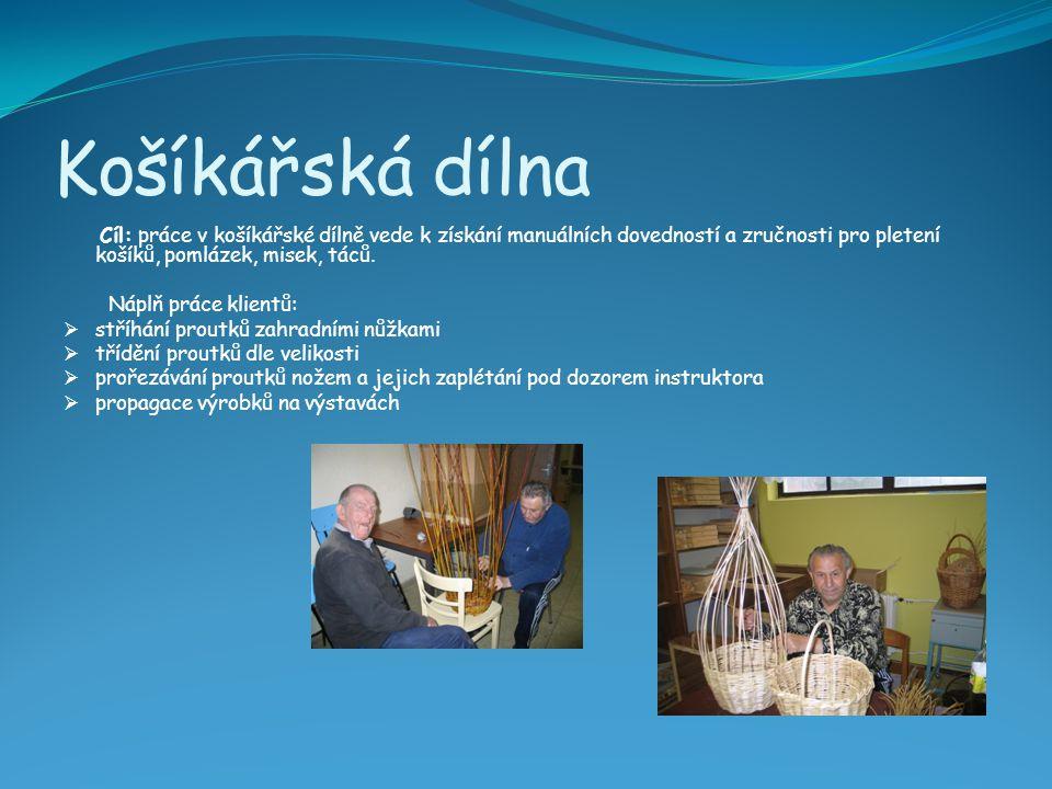 Košíkářská dílna Cíl: práce v košíkářské dílně vede k získání manuálních dovedností a zručnosti pro pletení košíků, pomlázek, misek, táců. Náplň práce
