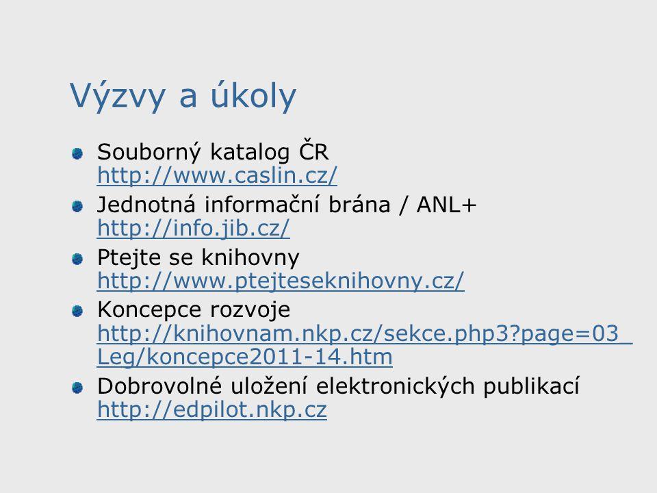 Výzvy a úkoly Souborný katalog ČR http://www.caslin.cz/ http://www.caslin.cz/ Jednotná informační brána / ANL+ http://info.jib.cz/ http://info.jib.cz/ Ptejte se knihovny http://www.ptejteseknihovny.cz/ http://www.ptejteseknihovny.cz/ Koncepce rozvoje http://knihovnam.nkp.cz/sekce.php3?page=03_ Leg/koncepce2011-14.htm http://knihovnam.nkp.cz/sekce.php3?page=03_ Leg/koncepce2011-14.htm Dobrovolné uložení elektronických publikací http://edpilot.nkp.cz http://edpilot.nkp.cz