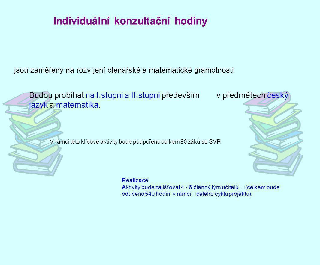 Individuální konzultační hodiny Budou probíhatna I.stupni a II.stupni především v předmětech český jazyk a matematika. V rámci této klíčové aktivity b