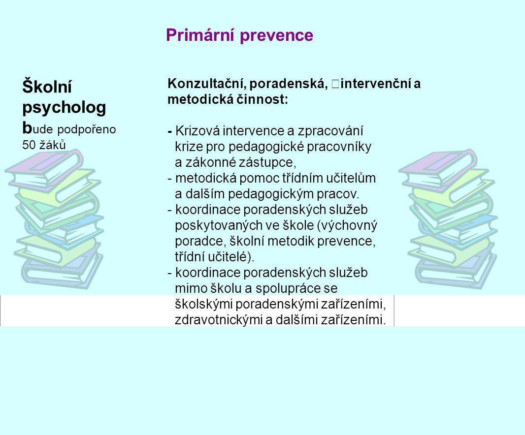 Školní psycholog b ude podpořeno 50 žáků Primární prevence Konzultační, poradenská, intervenční a metodická činnost: - Krizová intervence a zpracování
