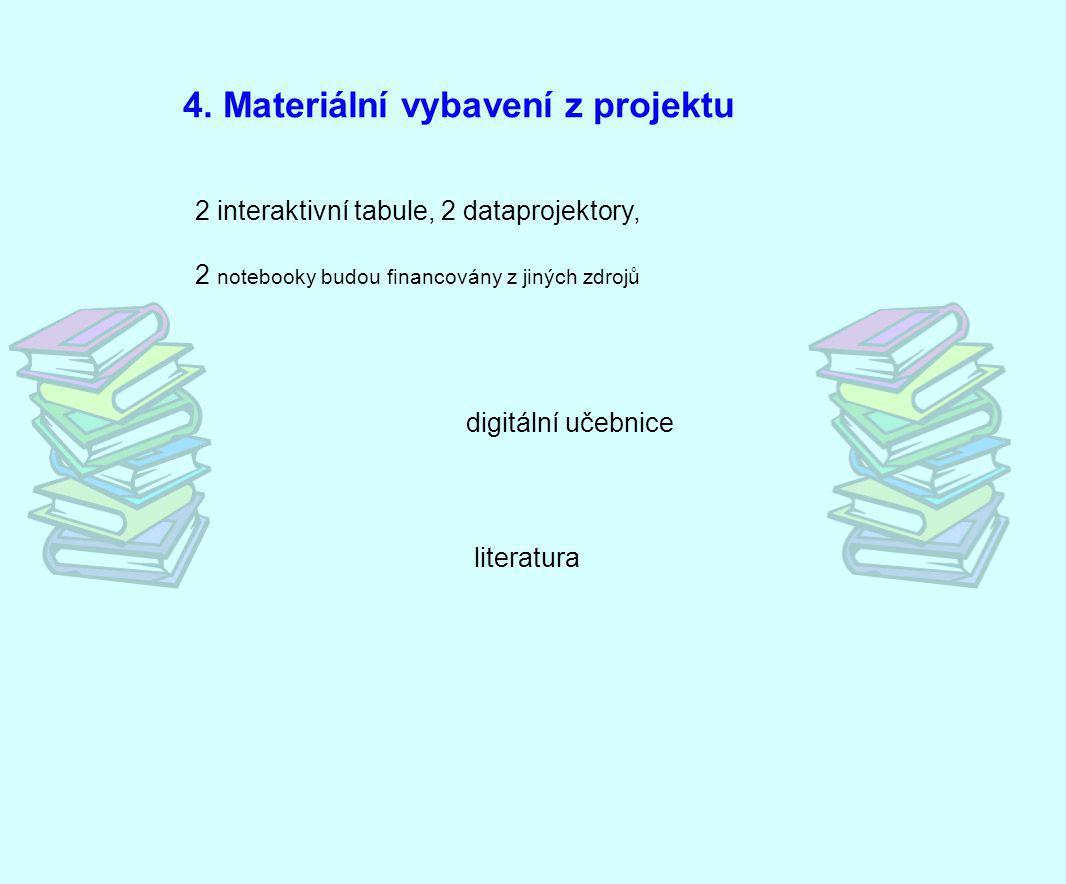 4. Materiální vybavení z projektu 2 interaktivní tabule, 2 dataprojektory, 2 notebooky budou financovány z jiných zdrojů digitální učebnice literatura