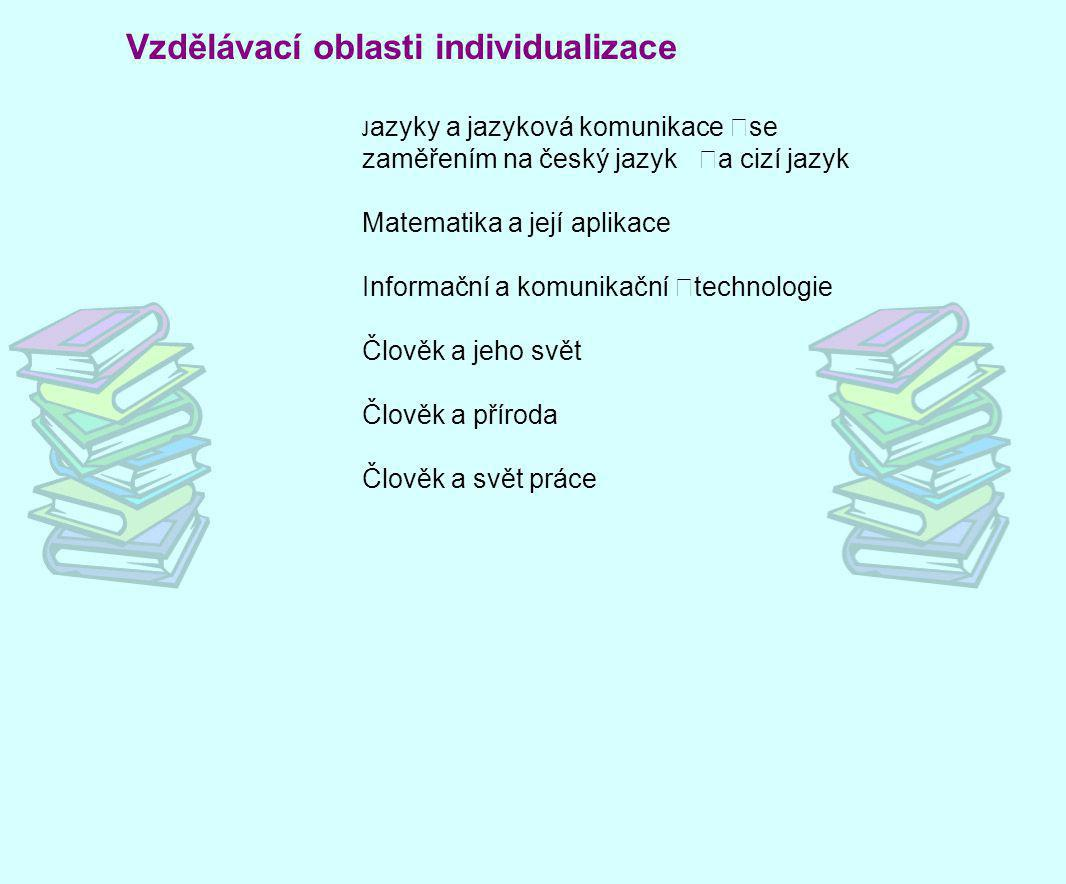 Vzdělávací oblasti individualizace J azyky a jazyková komunikace se zaměřením na český jazyk a cizí jazyk Matematika a její aplikace Informační a komu