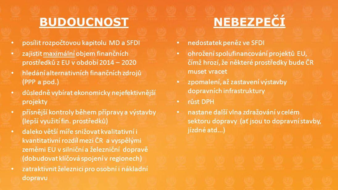 BUDOUCNOST • posílit rozpočtovou kapitolu MD a SFDI • zajistit maximální objem finančních prostředků z EU v období 2014 – 2020 • hledání alternativníc