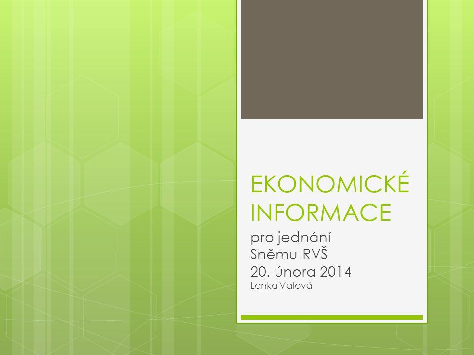 EKONOMICKÉ INFORMACE pro jednání Sněmu RVŠ 20. února 2014 Lenka Valová