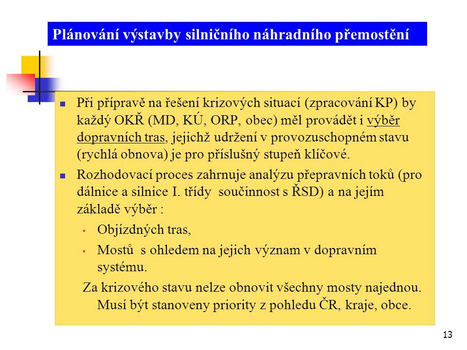13  Při přípravě na řešení krizových situací (zpracování KP) by každý OKŘ (MD, KÚ, ORP, obec) měl provádět i výběr dopravních tras, jejichž udržení v