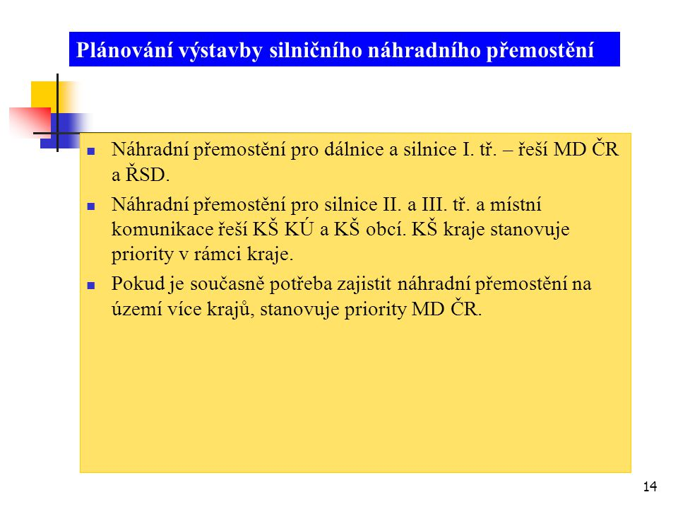 14  Náhradní přemostění pro dálnice a silnice I. tř. – řeší MD ČR a ŘSD.  Náhradní přemostění pro silnice II. a III. tř. a místní komunikace řeší KŠ