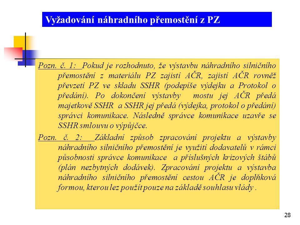 28 Pozn. č. 1: Pokud je rozhodnuto, že výstavbu náhradního silničního přemostění z materiálu PZ zajistí AČR, zajistí AČR rovněž převzetí PZ ve skladu