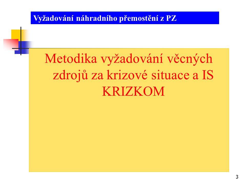 4 Metodika pro vyžadování věcných zdrojů za krizové situace (Usnesení vlády č.