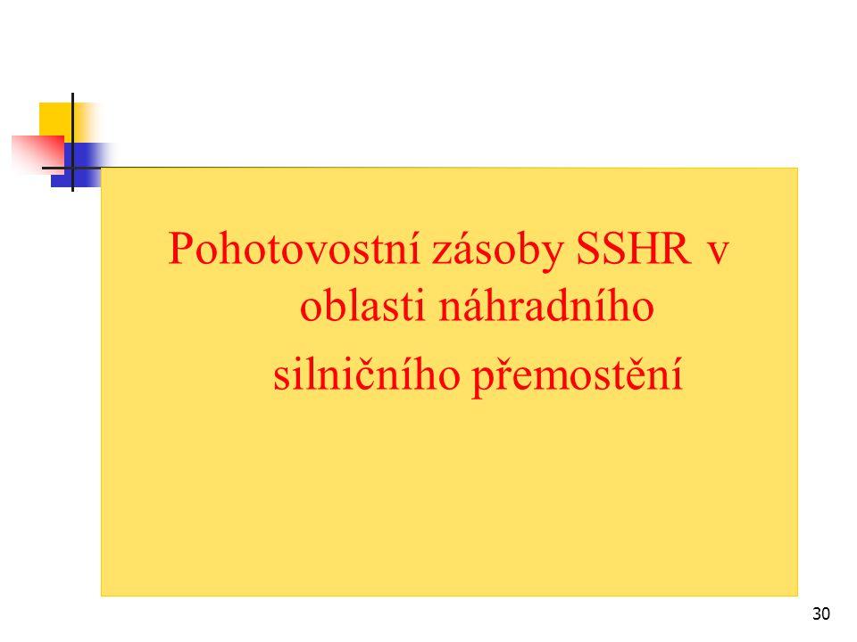30 Pohotovostní zásoby SSHR v oblasti náhradního silničního přemostění