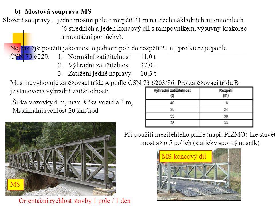 b)Mostová souprava MS Složení soupravy – jedno mostní pole o rozpětí 21 m na třech nákladních automobilech (6 středních a jeden koncový díl s rampovní
