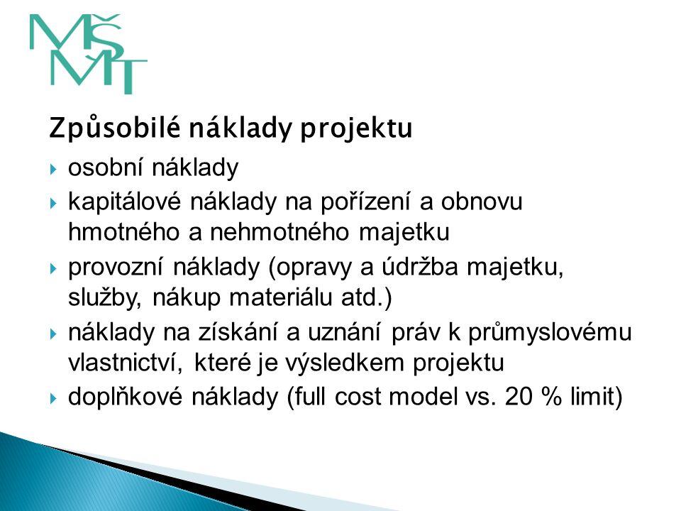 Způsobilé náklady projektu  osobní náklady  kapitálové náklady na pořízení a obnovu hmotného a nehmotného majetku  provozní náklady (opravy a údržb
